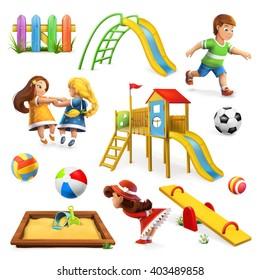 Playground, vector icon set