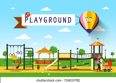 Playground. Vector Park Illustration.