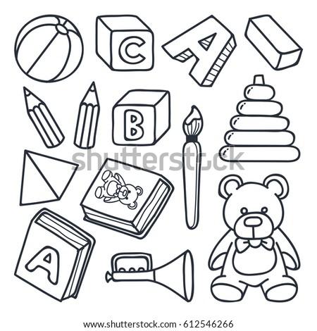 Playgroup Kindergarten Preschool Object Doodle Style Stock Vector