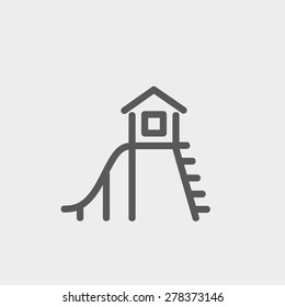 Playhouse with slide icon thin line for web and mobile, modern minimalistic flat design. Vector dark grey icon on light grey background.