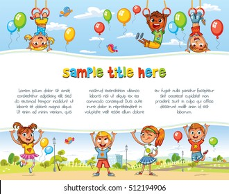 Playing in Amusement park. Playground. Happy children holding blank poster. Template for advertising brochure. Ready for your message. Space for text. Funny cartoon character. Vector illustration