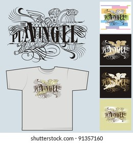 The playing angel # 01. The image for the press on T-shirts.