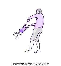 Spiel mit BabyVektorgrafik auf weißem, transparentem Hintergrund