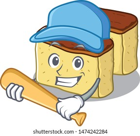 Playing baseball castella cake isolated in the cartoon