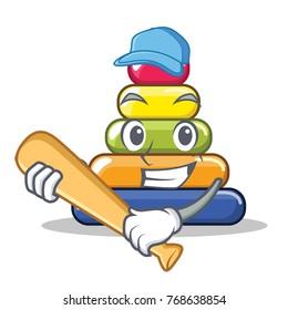 Playing baseball pyramid ring character cartoon