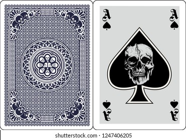 playing card, ace of spades with skull
