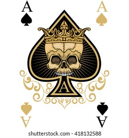 playing card, ace of spades,Gothic coat of arms with skull .vintage design t-shirts