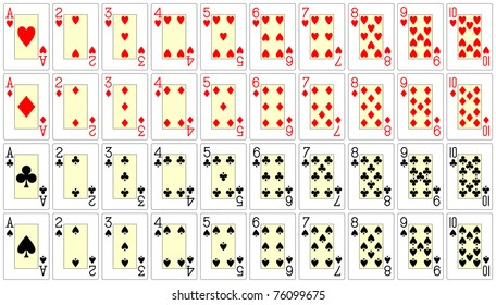playing card from ace to ten 62x90 mm