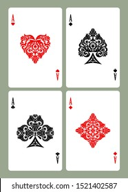 Playing card aces with retro decorative suit symbols isolated on white. Vector illustration