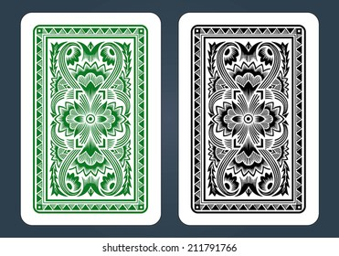 Playing Card Back Designs - Green and black