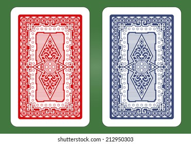 Playing Card Back Designs - Red and Blue