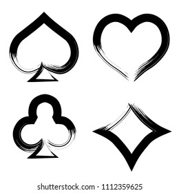 Playing card brush symbols. Playing card grunge style. Playing card ink icons.
