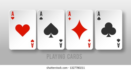 Playing Card design  for casino jackpot. Luck game banner for poker or roulette. - Vector