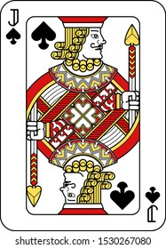 A playing card Jack of Spades in red, yellow and black from a new modern original complete full deck design. Standard poker size