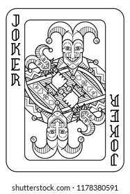 A playing card Joker in black and white from a new modern original complete full deck design. Standard poker size.