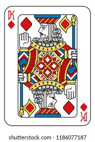 A playing card king of Diamonds in yellow, red, blue and black from a new modern original complete full deck design. Standard poker size.