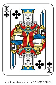 A playing card king of Spades in yellow, red, blue and black from a new modern original complete full deck design. Standard poker size.