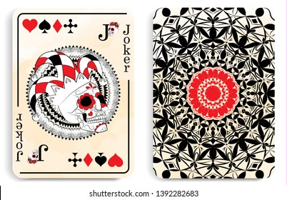 playing card with a picture of the Joker in the form of a skull, a symbol of the traditional Mexican holiday Day of the dead and the Day of angels