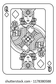 A playing card Queen of Diamonds in black and white from a new modern original complete full deck design. Standard poker size.