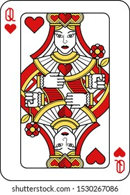 A playing card Queen of hearts in red, yellow and black from a new modern original complete full deck design. Standard poker size.