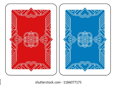 A playing card Reverse Back in red and blue from a new modern original complete full deck design. Standard poker size.