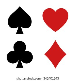 Playing card spade, heart, club, diamond suit flat vector icon for apps and websites