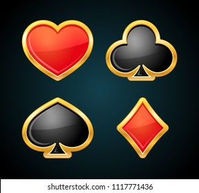 Playing card suit with gold border. Casino icons. Poker symbols