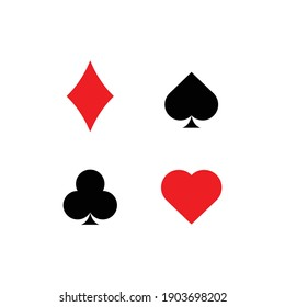Playing Card Suit Icons. vector illustration isolated on white background