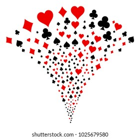 Playing Card Suits burst fountain. Vector illustration style is flat iconic symbols. Object fountain combined from random pictographs as playing card suits fireworks.