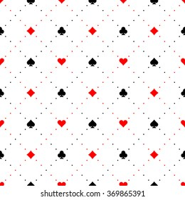 Playing card suits signs seamless pattern background
