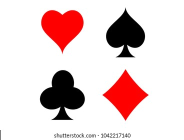 Playing card suits, spade, heart, club and diamond vector set for your design or logo
