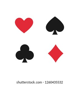 Playing card suits. Spades, hearts,diamonds, clubs icons. Poker Symbols