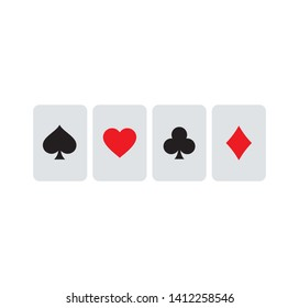 Playing card suits symbol, logo illustration. Pixel perfect graphics Casino sign. Playing cards pattern with spade, club, love or heart, and diamond symbols.
