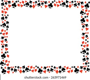 Playing Card Symbol Border Frame . Vector Illustration .