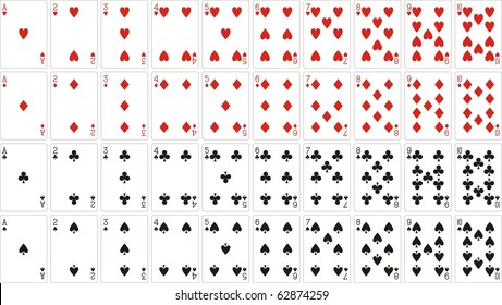 playing cards 62x90 mm from one to ten