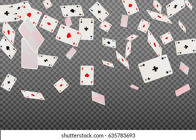 Playing cards aces falling on a transparent background. Vector illustration.