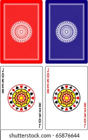 playing cards back side and jokers 60x90 mm