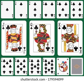 Playing cards club suit, joker and back. Faces double sized. Green background in a separate level