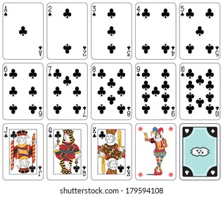 Playing cards club suit, joker and back