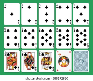 Playing cards club suit on green background. Original figures, joker and back.