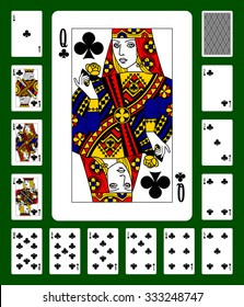 Playing cards of Clubs suit and back on green background. Faces double sized. Original design. Vector illustration