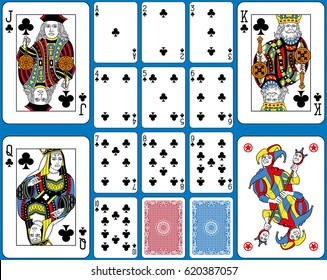 Playing cards clubs suite. Original figures double sized and inspired by french tradition.