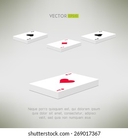 Playing cards deck with ace on top in realistic and clean design. Card perspective composition. Vector illustration