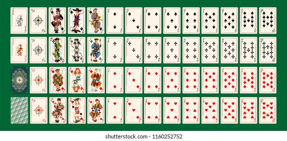 Playing cards deck collection heart, spades, diamond, club, joker  pirates style character symbol fortune