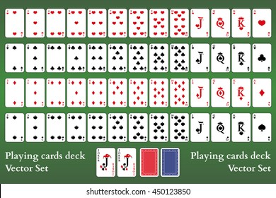 Playing cards deck on green background