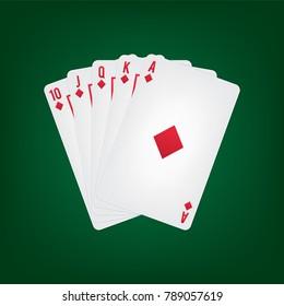 Playing Cards Diamond Royal Flush