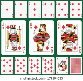 Playing cards diamond suit, joker and back. Faces double sized. Green background in a separate level