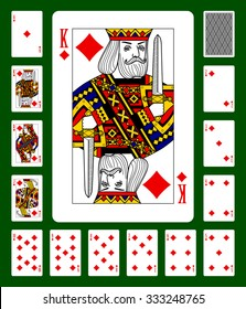 Playing cards of Diamonds suit and back on green background. Faces double sized. Original design. Vector illustration