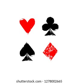 Playing cards different suits - hearts, diamonds, spades and clubs - grunge sponge prints, vector