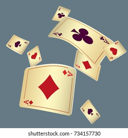Playing cards falling on gray background. Vector illustration in vintage style.
